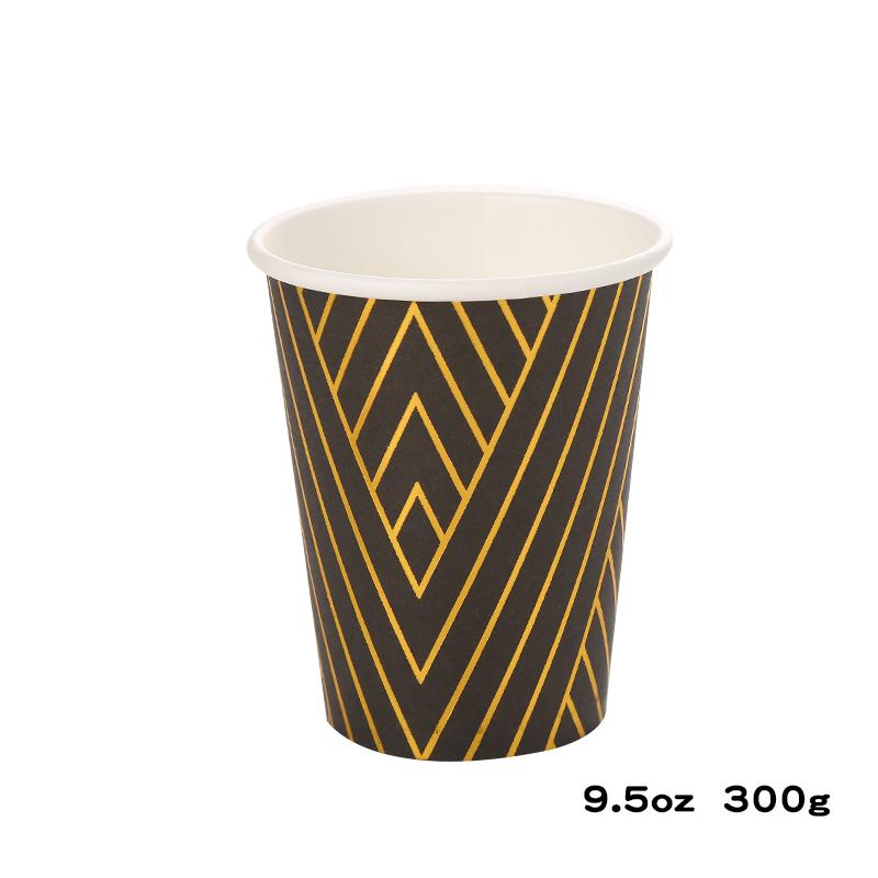 כוסות נייר עבות שחור זהב מטאלי