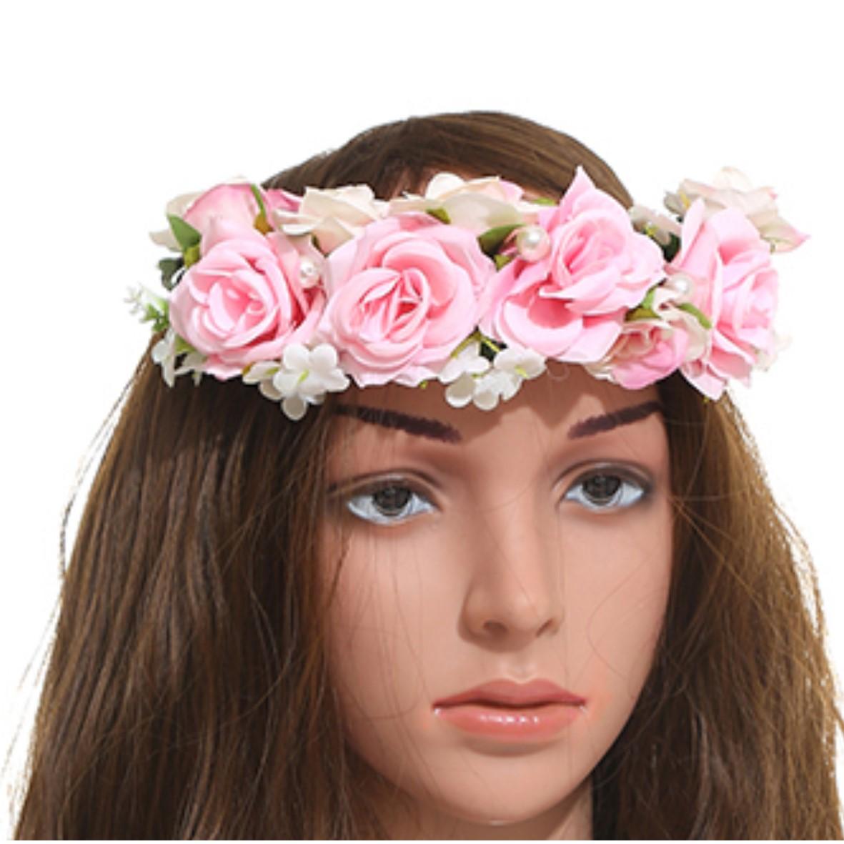 זר לראש מפואר פרחים ורודים בשילוב פנינים (ייחודי)