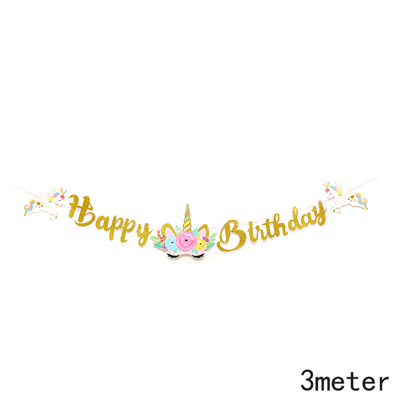 שרשרת דגלים HAPPY BIRTHDAY בזהב מנצנץ חד קרן