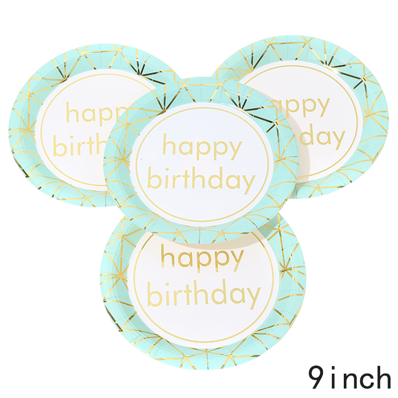 צלחות נייר גדולות HAPPY BIRTHDAY מנטה זהב מטאלי
