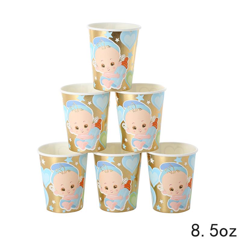כוסות נייר תינוק הדפס זהב מטאלי
