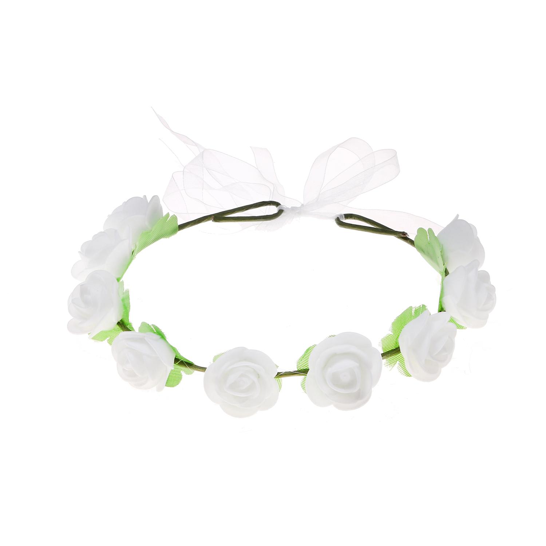 זר לראש פרחי סול לבנים עם טול