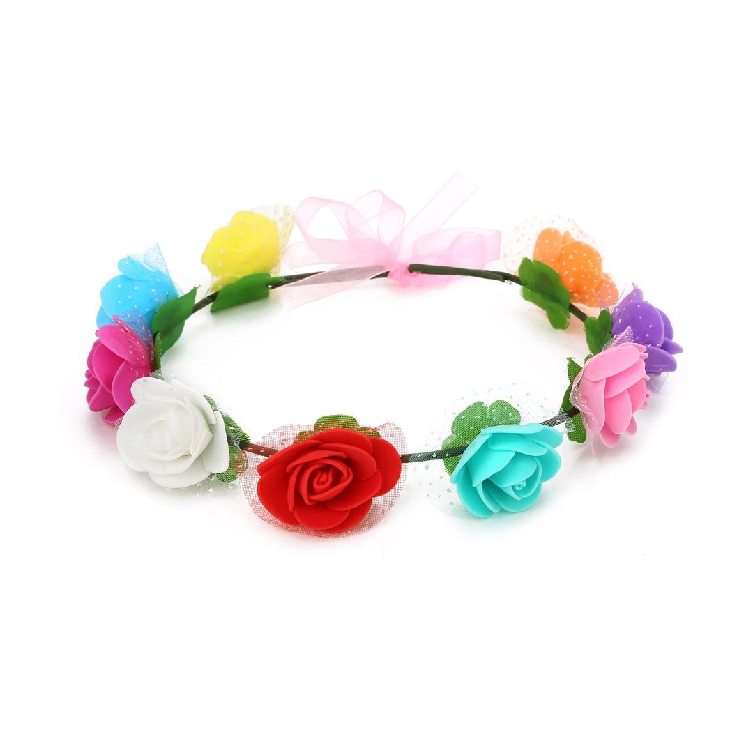 זר לראש פרחי סול מיקס צבעים עם טול