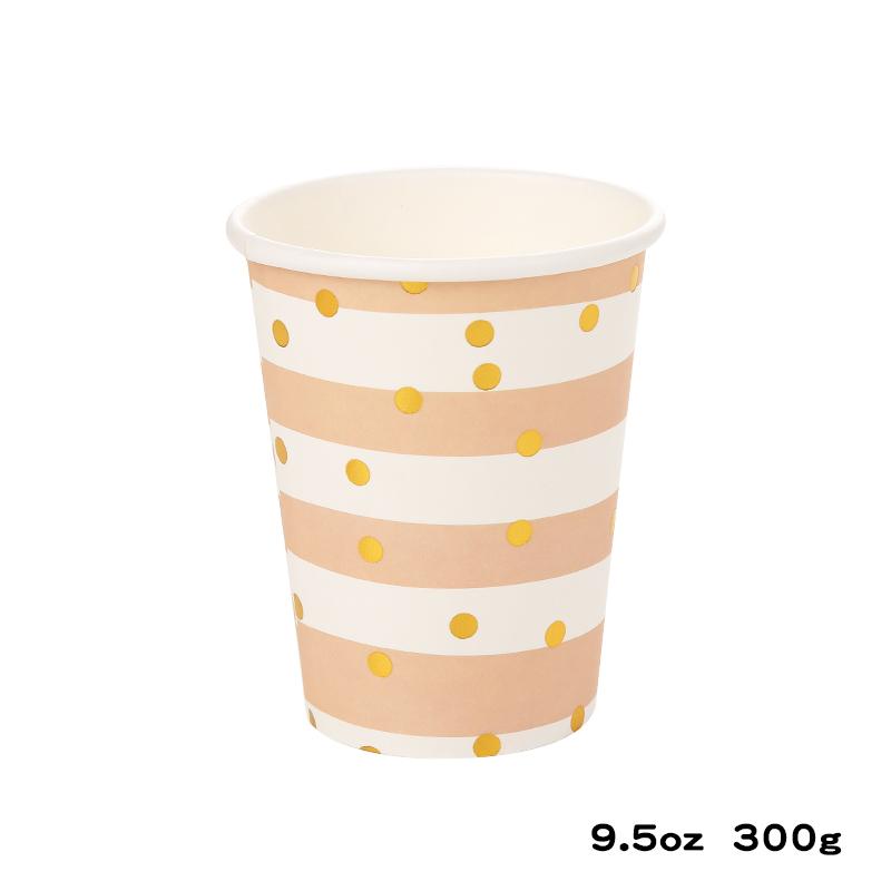כוסות נייר עבות פסים נקודות זהב מטאלי