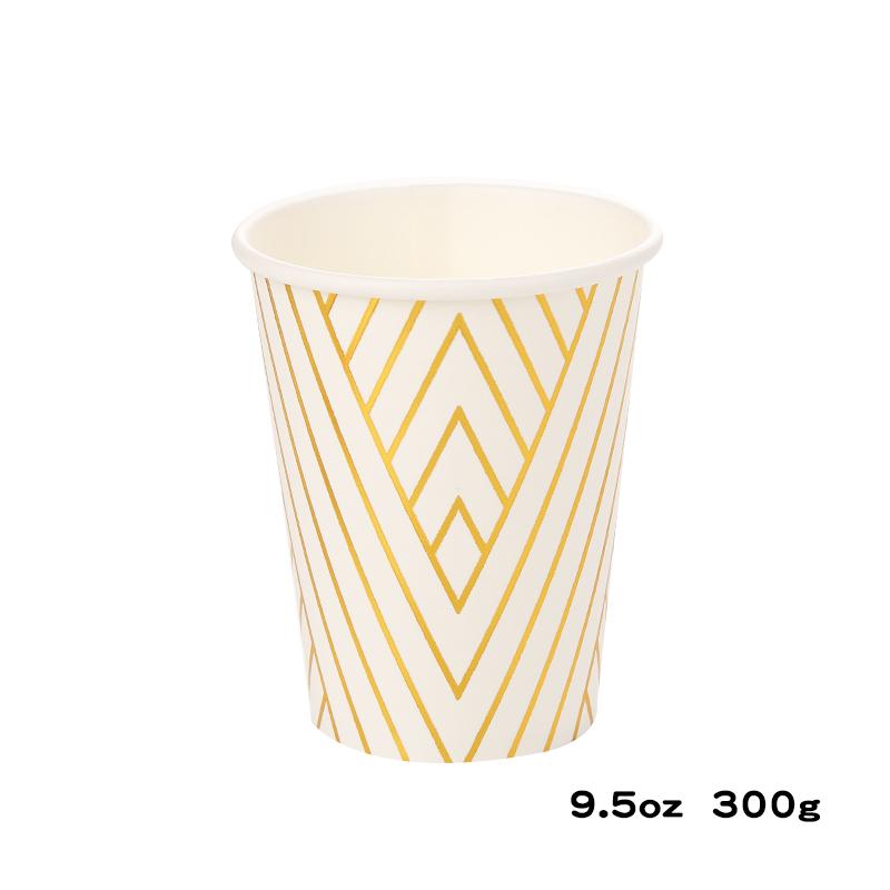 כוסות נייר עבות לבן זהב מטאלי