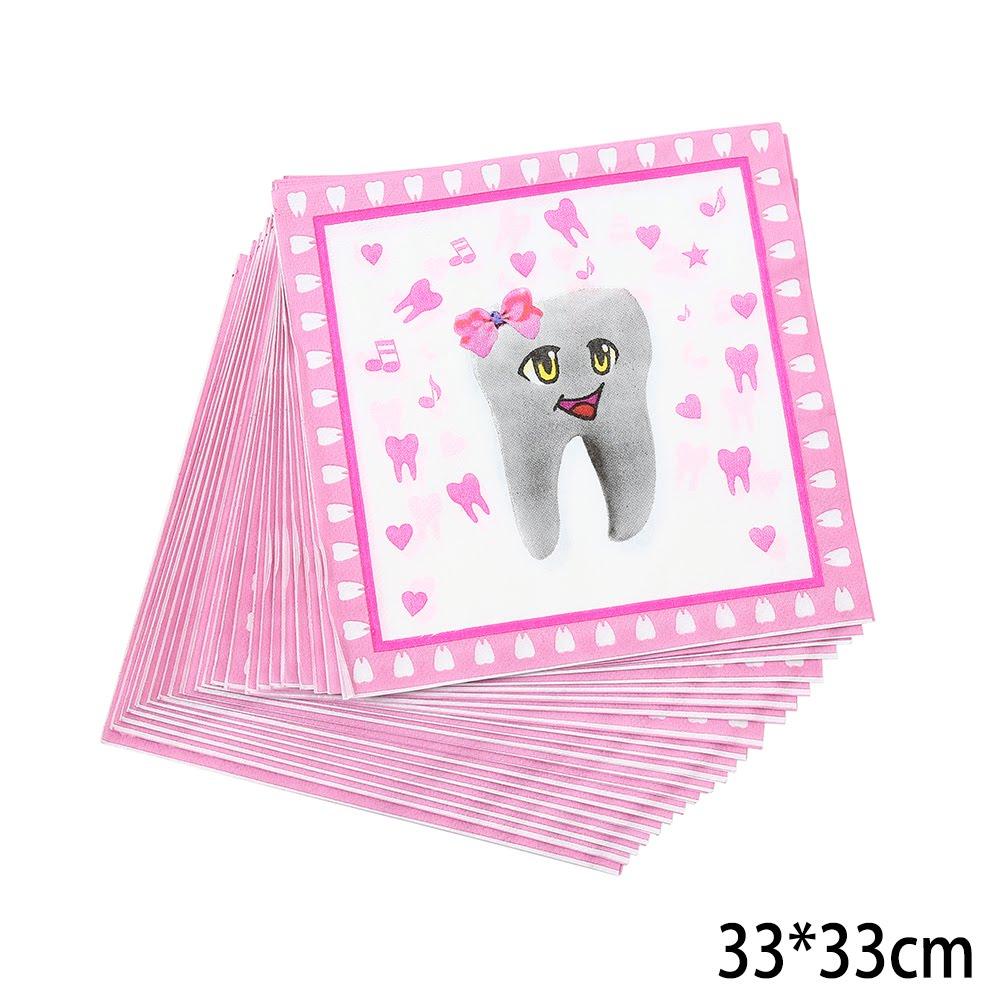 מפיות נייר ורודות דו שכבתיות למסיבת שן