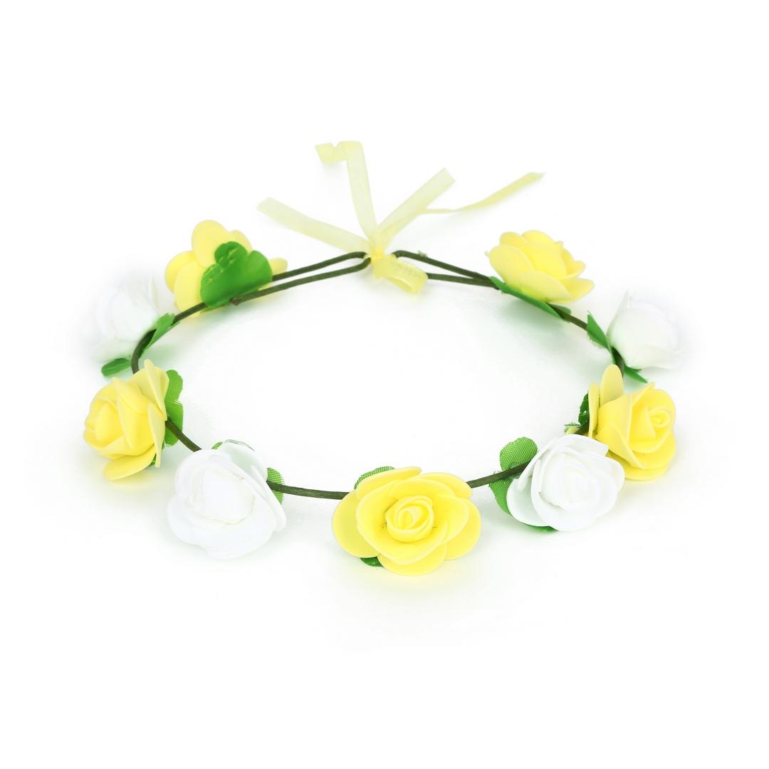 זר לראש פרחי סול צהוב ולבן ללא טול ( ייחודי )