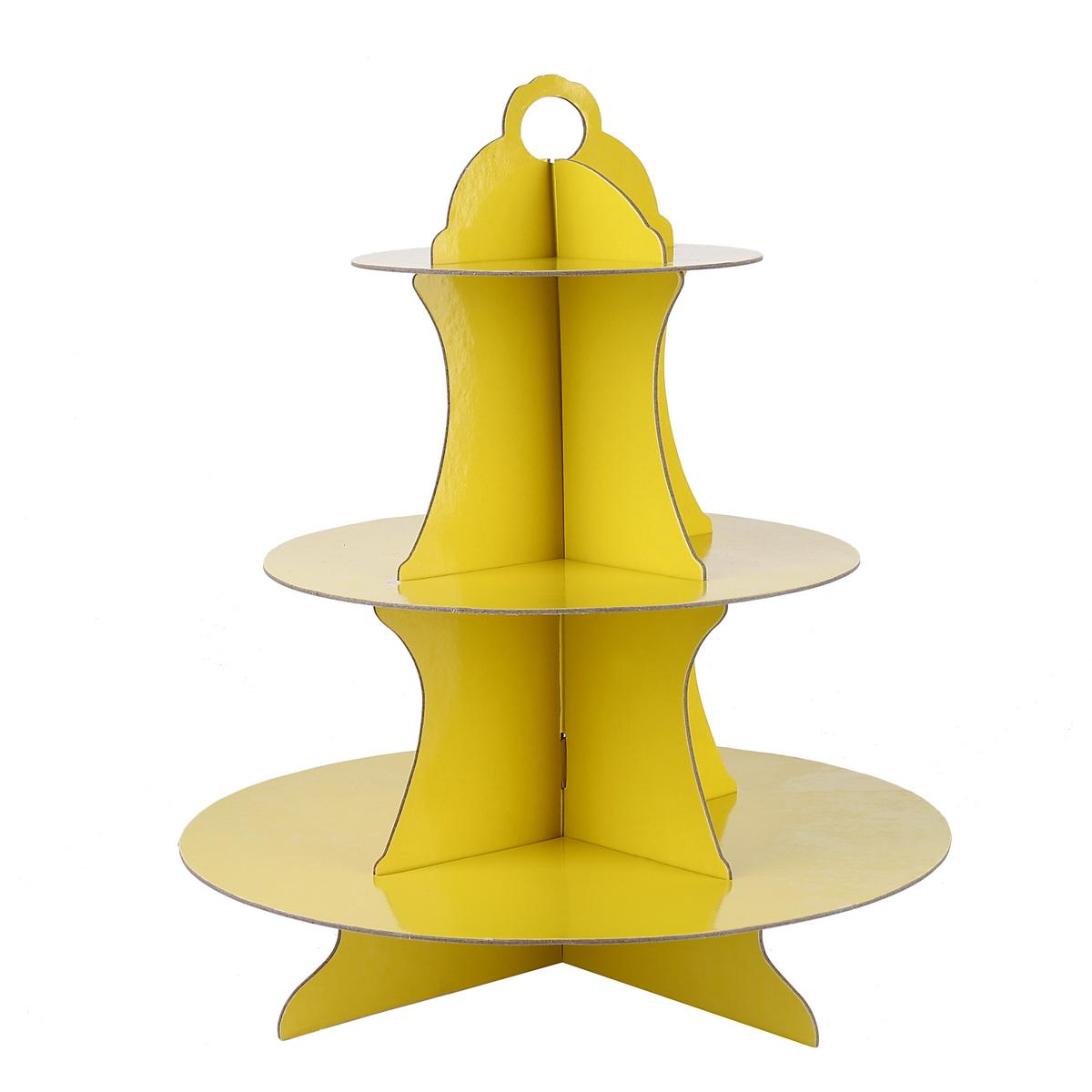 מעמד 3 קומות צהוב לעוגות וקינוחים (ייחודי)