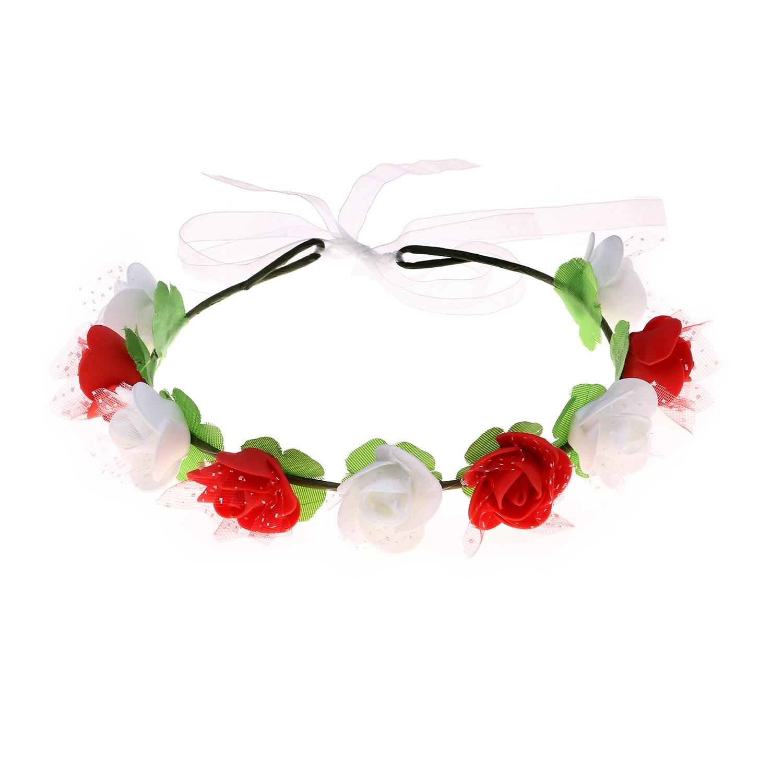 זר לראש פרחי סול אדום ולבן עם טול