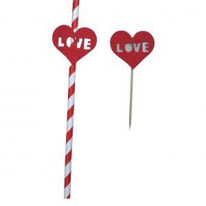 קשיות נייר עם קיסם לבבות LOVE