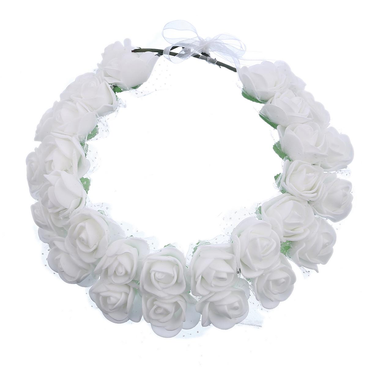 זר לראש 2 שורות פרחי סול לבנים עם טול