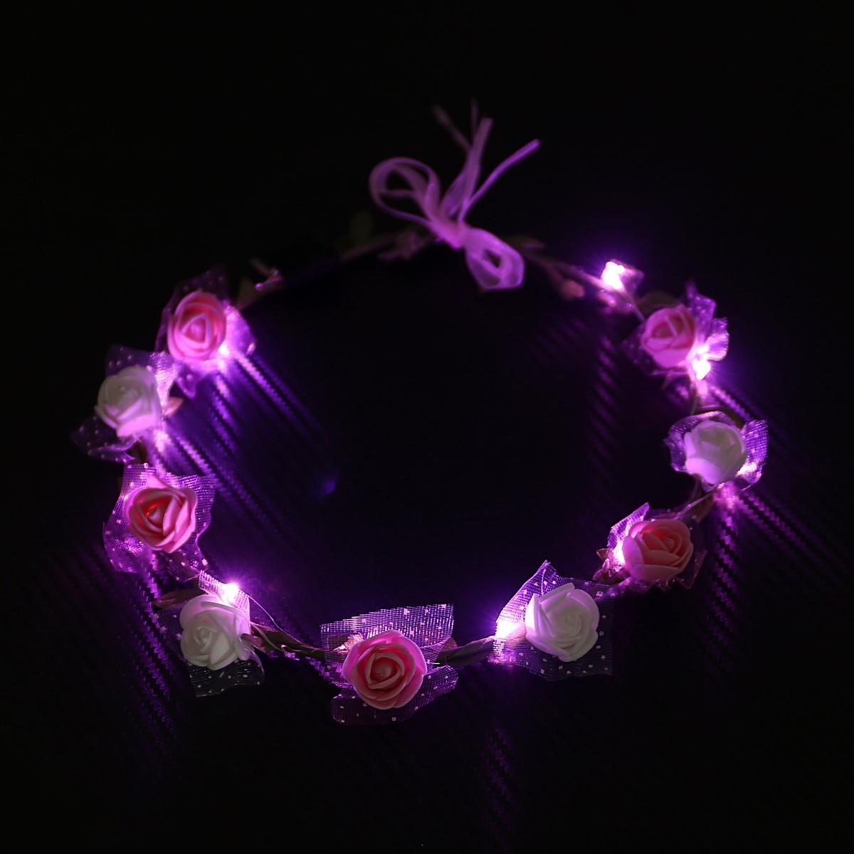 זר לראש פרחי סול ורוד ולבן עם אורות LED ורודים
