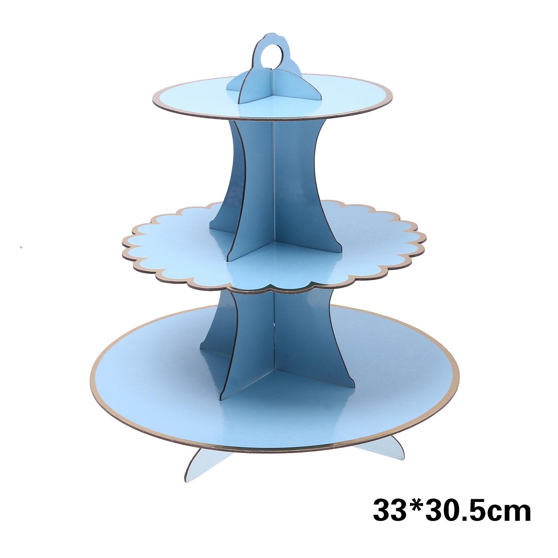 מעמד 3 קומות תכלת שולים בזהב לעוגות וקינוחים (ייחודי)