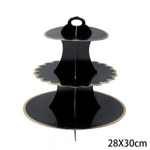 מעמד 3 קומות שחור שוליים זהב לעוגות וקינוחים (ייחודי)