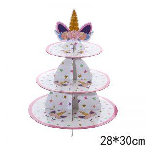 מעמד 3 קומות חד קרן לעוגות וקינוחים