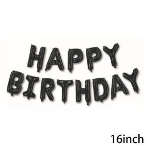 בלוני HAPPY BIRTHDAY שחורים כולל קשית וחוט