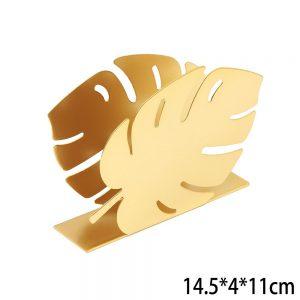 מעמד מתכת למפיות נייר דגם עלה טרופי – זהב