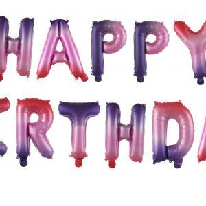 בלון מיילר אותיות HAPPY BIRTHDAY ורוד סגול (ייחודי)
